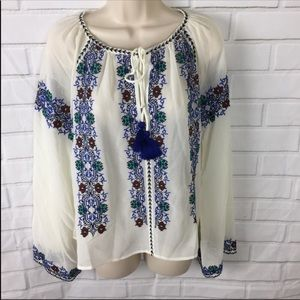 Topshop Embroidered Bardot Top Size 6 NEW
